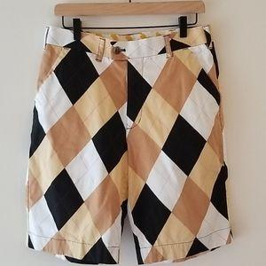 Loudmouth Tan Black Argyle Shorts Size 32